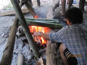 Cooking mountain rice & herbal tea in bamboo over a fire photo